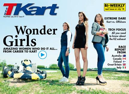 Three girls and a day on karts on TKartWeb number 9: the digital, interactive, English language karting magazine