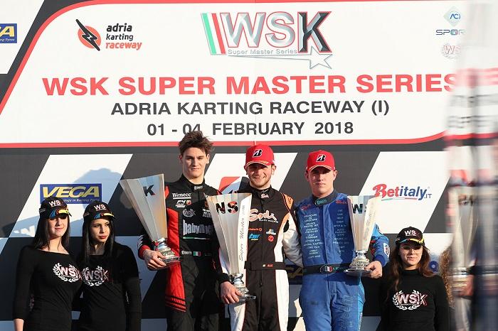 WSK Super Master Series ad Adria Leonardo Lorandi sul podio KZ2 Belle finali per Brizhan (OKJ) e Irfan (Mini)